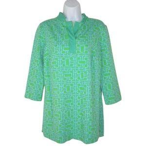 Elizabeth McKay Lattice Knit Top Shirt Tunic M